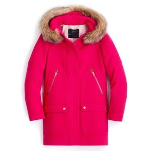 J CREW Chateau Parka Coat in Magenta Pink | 2P